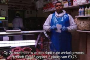 Slager Aziz zit met teveel betaald bedrag in zijn maag